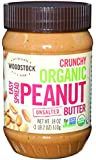 Woodstock Farms Organic Peanut Butter, Easy Spread, Crunchy, No Salt, 18-Ounce Jars (Pack of 4)