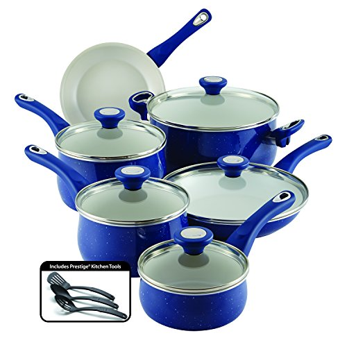Farberware New Traditions Speckled Aluminum Nonstick 14-Piece Cookware Set, Blue