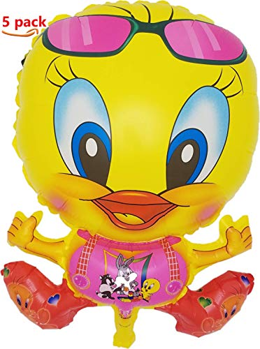 - Tweety Bird Balloons Looney Tunes Yellow (5 Pack), Bright Color Plastic 22 inch Helium/Air Balloons |