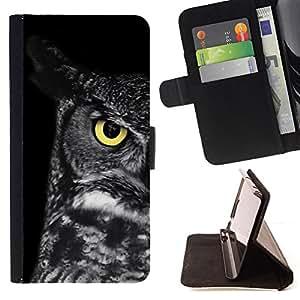 BullDog Case - FOR/Samsung Galaxy S6 / - / owl teacher school smart eye black /- Monedero de cuero de la PU Llevar cubierta de la caja con el ID Credit Card Slots Flip funda de cuer