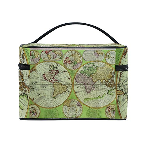 The Art Of Shaving Nickel Shaving Brush (Vintage Old World Map Portable Travel Makeup Cosmetic Bags Toiletry Organizer Multifunction Case)