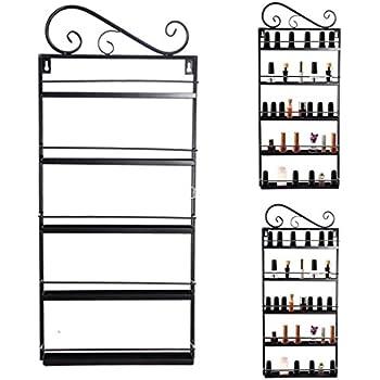 Opino DIY Mounted 6 Shelf Nail Polish Wall Rack Organizer Holds 120 Bottles Nail Polish or Essential Oils (Black)