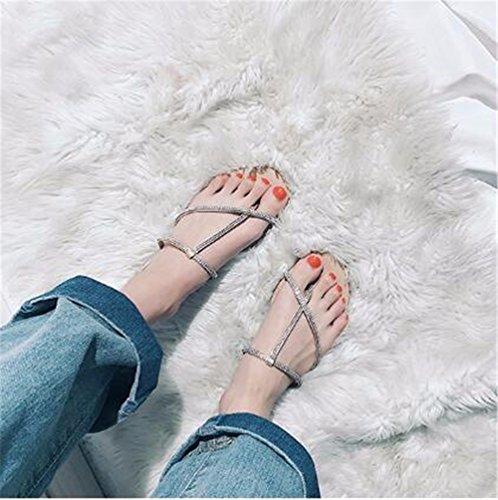 Beige libre Señora fondo GAOQIANGFENG de verano con patin aire al plano de zapatillas 7FWOq1cF