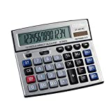 KSUNSEVEN 14 Digit Check Correct Calculator Large Display Solar Battery LCD Display Office Calculator Electronic Desktop Calculator Business Gift