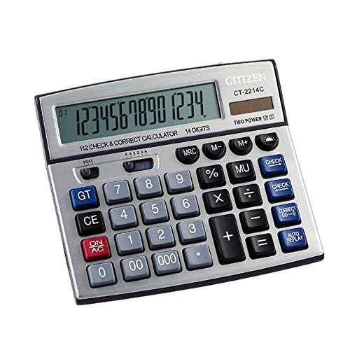 Sdcvopl Handheld Calculator 14 Digit Check Correct Calculator Large Display Solar Battery LCD Display Office Calculator Electronic Desktop Calculator Business - Battery Digit Lcd 14 Display