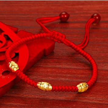 Amazon Com Red String Of Gold Beads Female Gold Plated 18k Gold