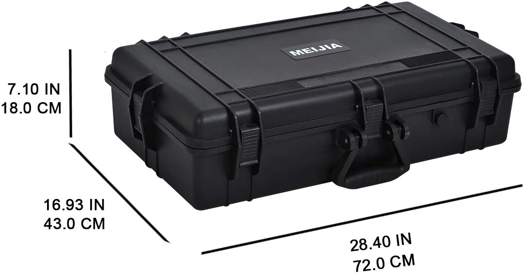 24.01x16.92X12.2 MIEJIA Portable All Weather Waterproof Camera Case with Foam,Fit Use of Drones,Camera,Equipments,Pistols,Elegant Black,