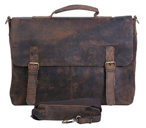 Retro Buffalo Hunter Leather Laptop Messenger Bag Office Briefcase College (Buffalo Bag)