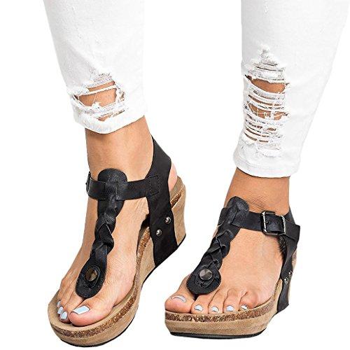 Playa Chancletas Retro Alto Y Minetom Sandalias De Romanas Elegante Zapatos De Moda Gladiadoras Mujer Tacón Negro Verano Plataforma Casual Casual Bq8CUxt