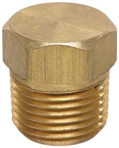 Anderson Metals 56121 Brass Pipe Fitting, Cored Hex Head Plug, 3/8