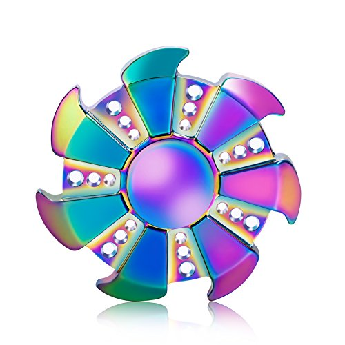 Top Notch Fidget Hand Spinner Stress Reducer Ultra Durable High Speed Ceramic Bearing Fidget Finger Toy for ADD ADHD Anxiety Autism Stress Relief (Rainbow, Cyclone)