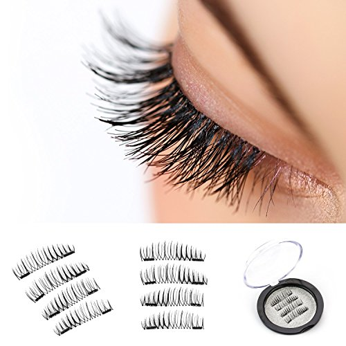 (Magnetic Eyelashes Natural | False Dual 2 Magnet Lashes [Glue Free] Ultra-Thin Easy to Wear 3D Reusable Extensions - Premium Quality Fake Eyelashes Full Size set for Natural Look (1 Pair/4 Pcs))