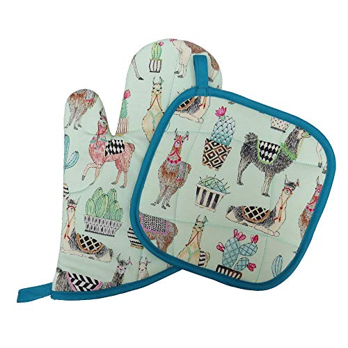 Llamas Oven Mitt & Pot Holder Set - Handmade by Collisionware