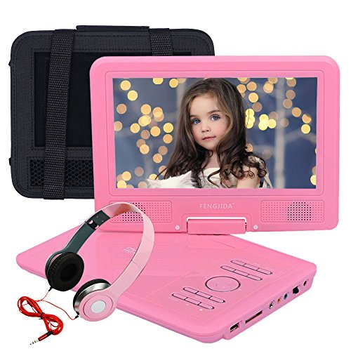 FENGJIDA 9-Inch Portable DVD Player with Headphone, CD Player with USB/SD Card Memory Readers, Swivel Screen, Car Headrest Mount Holder, and Built-in Rechargeable Battery with Remote Control - Pink