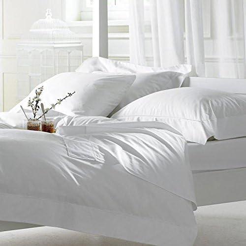 RoyalLinenCollection Jupe de lit 1 pièce – Blanc Fantôme uni Euro Extra petit 100 % coton égyptien 600 fils avec poche extra profonde 30 cm