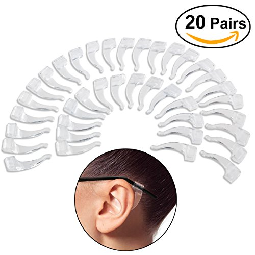 NUOLUX Eyeglasses Anti-skid Ear Pads Ear Hook 20 Pairs (Transparent)