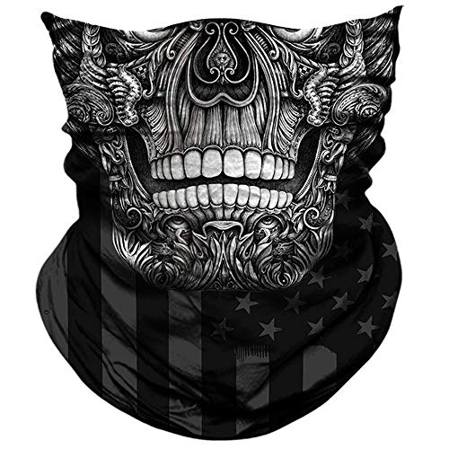 AXBXCX 3D Skull Skeleton Neck Gaiter Face Mask for Hunting Fishing Motorbike Motorcycle Running Cycling Riding Hiking Skateboard Skiing Powersports Halloween Party Music Festivals Raves AX-116