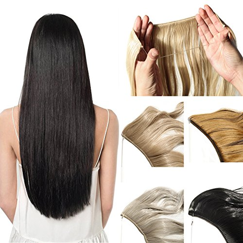 20''/24'' Wire in Synthetic Hair Extension Hidden Invisible Not Clip in Hair Secret Miracle Straight Wavy Blonde Black Brown