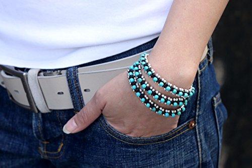 Turquoise Silver Beaded Warp Bracelets Woven Braided Cord (Rocker Woven Green)
