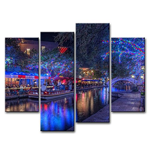 So Crazy Art 4 Piece Wall Art Painting San Antonio Texas Night Entertainment Trees Decorations Holiday Pictures Prints On Canvas City The Picture Decor Oil For Home Modern Decoration Print -
