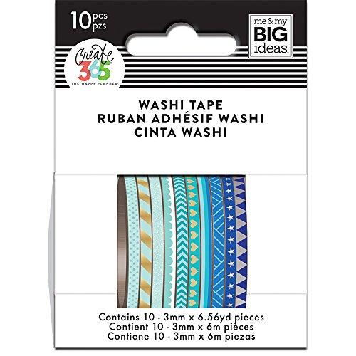 Blue Washi Tape (me & my BIG ideas WTSS-02 The The Happy Planner Mini Washi Tape, Blue)