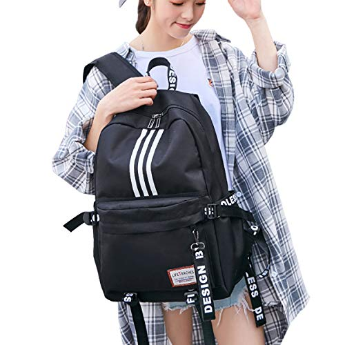 Cool Medium Lightweight School Book Back Bag Black Bookbag Casual Backpack For Men and Women Padded Shoulder Straps
