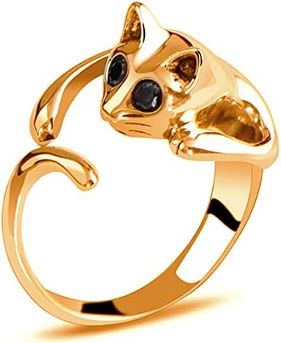 ClothingLoves Cute Silver Shaped Cat Ring With Rhinestone Eyes Adjustable and Resizeable