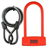 Lumintrail LK20708 Combination 14mm Bicycle U-Lock with Mounting Bracket and Optional 4-foot Braided Steel Security Cable (Red+4ft Cable) Review