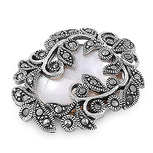 (Pendant Simulated Mother of Pearl Simulated Marcasite .925 Sterling Silver Charm - Silver Jewelry Accessories Key Chain Bracelet Necklace Pendants)
