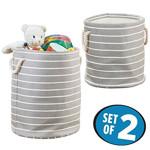 mDesign Baby/Kids Storage Organizer Bins for Toys, Stuffed Animals, Action Figures, Costumes - Set of 2, Gray/Cream