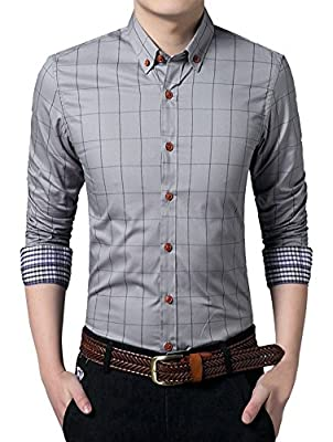 MEYKISS Men's Classic Slim Fit Business Button Down Shirt Dress Shirt