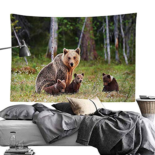 Homrkey Decorative Tapestry Nature Decor Wild Mother Grizzly Bear Protecting Her Babies in Forest Jungle Animal Print Hippie Tapestry W60 x L40 Green Brown