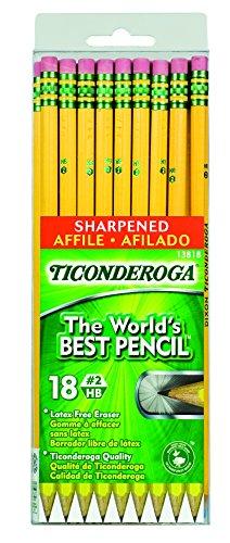 Dixon Ticonderoga Wood-Cased #2 HB Pencils, Pre-Sharpened, Hang Tab Box of 18, Yellow (13818)