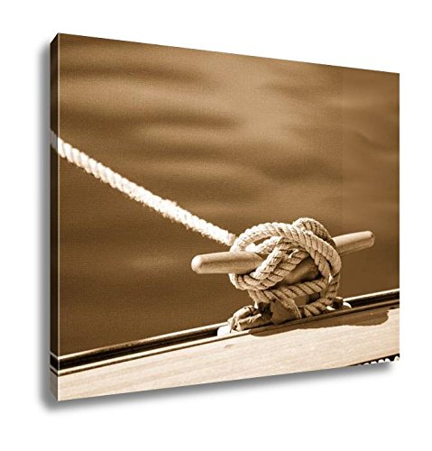 Ashley Canvas Detail Image Of Yacht Rope Cleat On Sailboat Deck, Kitchen Bedroom Living Room Art, Sepia 24x30, AG6057622