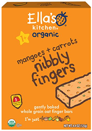 Ella's Kitchen 1+ Year Organic Nibbly Fingers Snack Bars, Mangoes + Carrots, 5 Count (Pack of 12)