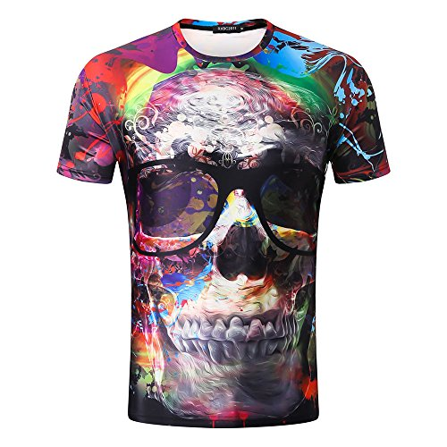 iLXHD Sale T-Shirt Mens Summer Hip-pop 3D Funny Printing Tees Shirt Short Sleeve T-Shirt Blouse Tops from iLXHD
