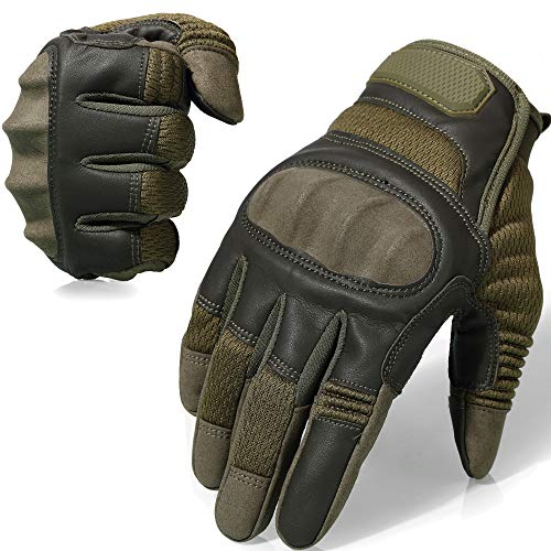 AXBXCX Tactical Gloves Military Motorcycle Touch Screen Plastic Hard Knuckle Full Finger Outdoor Gloves for Cycling Combat Training Army Shooting Motorbike Hunting Airsoft Paintball Green M