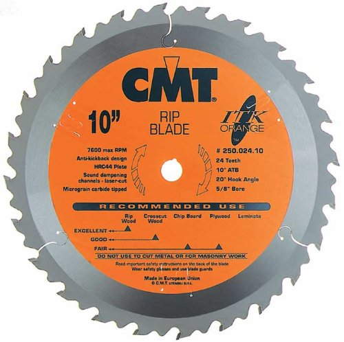 Heavy Duty Rip Blade (CMT 250.024.10 ITK Industrial Rip Saw Blade, 10-Inch x 24 Teeth 1FTG+2ATB Grind with 5/8-Inch Bore)