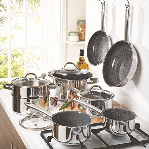 Marketing Qudos Durastone - Plato de cocina Set, acero inoxidable ...