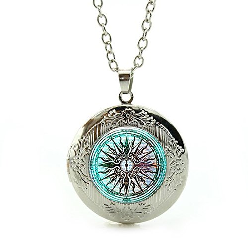 Women's Custom Locket Closure Pendant Necklace Compass Rose Nautical Windrose Rose of The Winds Included Free Silver Chain, Best Gift Set by LooPoP