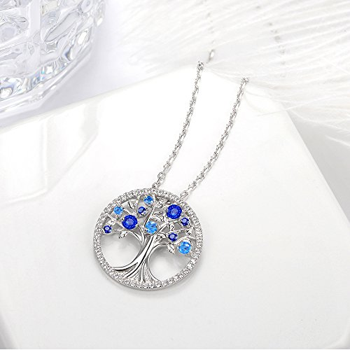 September Birthstone The Tree of Life Jewelry Created Sapphire Pendant and December Birthstone Created Blue Topaz Necklace Sterling Silver Birthday Anniversary Gifts for Her Family by Elda&Co (Image #3)