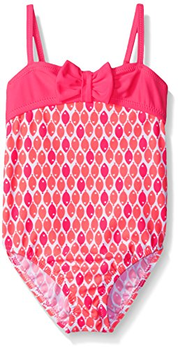 Osh Kosh Little Girls Front Bow One Piece Swimsuit, Pink, 5