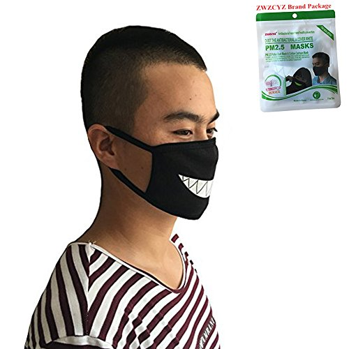 Funny Face Masks (ZWZCYZ Unisex Cartoon Funny Teeth Cotton Black Fashion Cute Muffle Muzzle Half Mouth Face Mask)
