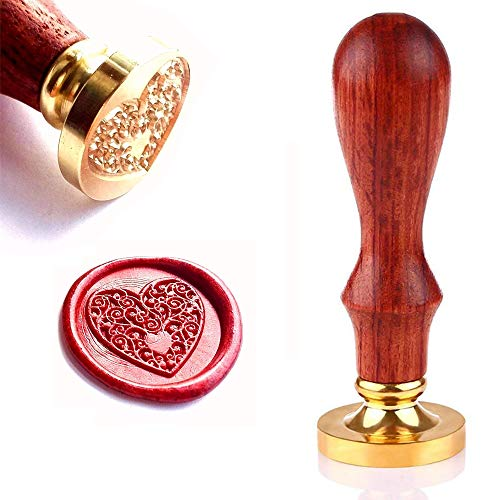 - Wax Seal Stamp, Retro Wood Stamp Classic Initial Wax Seal Stamp with Handle, Great for Embellishment of Envelopes, Invitations, Wine Packages, Greeting Cards, etc (Heart)