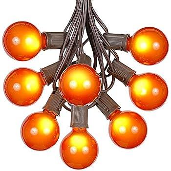 G50 Patio String Lights With 125 Orange Globe Bulbs U2013 Outdoor String Lights  U2013 Market Bistro