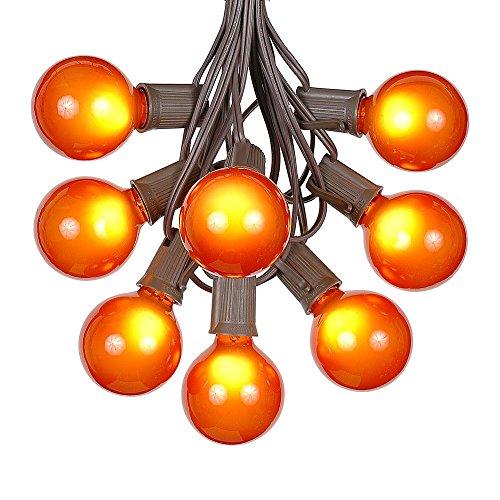 G50 Patio String Lights with 25 Orange Globe Bulbs - Outdoor String Lights - Market Bistro Café Hanging String Lights - Patio Garden Umbrella Globe Lights - Brown Wire - 25 Feet