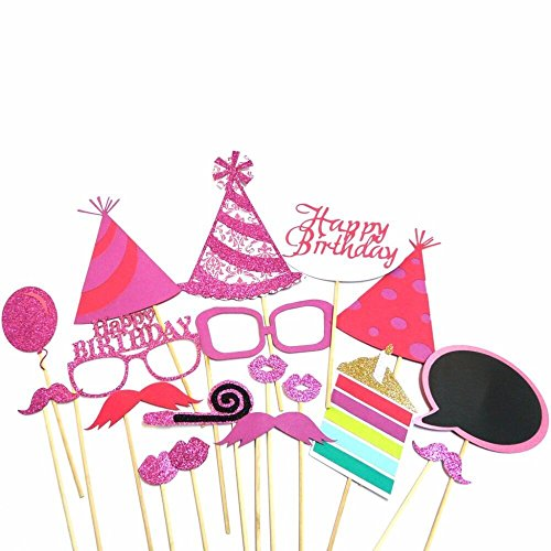 Glitter Happy Birthday Photo Booth Props Kit Pink Girl Party Supplies (Pink Great Photo)