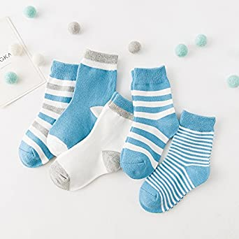 5 Pack Baby Basic Organic Cotton Socks 12-36 Months Toddlers Stripes Warm Socks