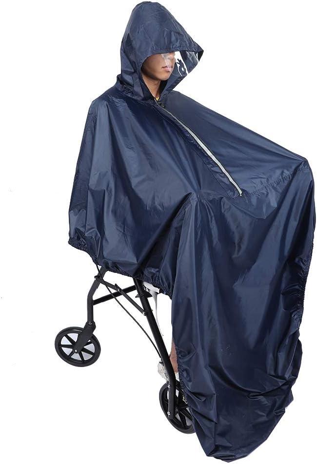 Poncho para silla de ruedas, Poncho impermeable para silla de ruedas con capucha Sobre la rodilla/cremallera/diseño elástico Funda impermeable para silla de ruedas