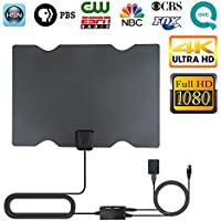 TV Antenna, 2018 Newest Indoor Digital HDTV Antenna 4K 1080P 60-80 Miles Range With Adjustable Signal Amplifier (Short Or Long Range), USB Power Supply and 16.4 Ft Coax Cable (black)